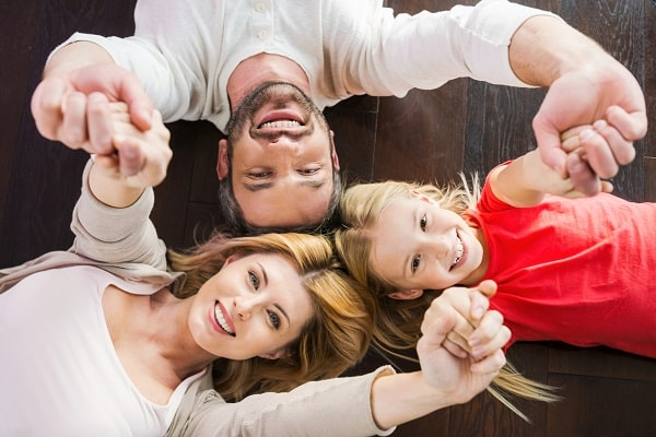 Happy Family On Floor